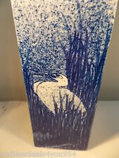 FUKAGAWA-SIGNED VASE-1099-1920-ANTIQUE BLUE & WHITE-CRANE IN POND