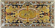 INLAY 5'X2.5' BLACK MARBLE DINING COFFEE CORNER CENTRE  TABLE TOP MOSAIC  WORK