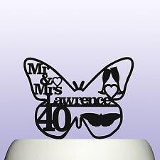 Personnalisé acrylique 40th rubis anniversaire de mariage papillon cake topper