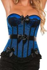 Starline Women's Satin Bow Detailed Corset, Blue/Black, Small