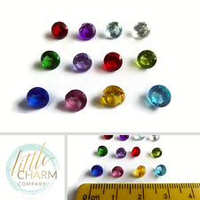 Set of 12 small ROUND crystal birthstones for glass lockets Buy 2 get 3rd FREE