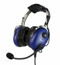 SL-900M Blue SkyLite Aviation Pilot GA Headset with mp3 input Dual Plug Free Bag