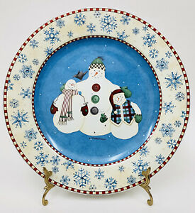 "Sakura Debbie Mumm SNOWFLAKE Blue Snowman Serving Platter Chop Plate 12"""