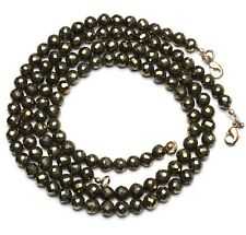 Natural Gemstone Golden Pyrite Faceted 7MM Approx Size Round Beads Necklace 17""