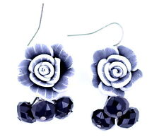 Lovely white, grey and black resin rose flower earrings