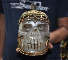 Tibet Crystal Gold Silver Filigree inlay Gem skull Skeleton Head Cranium statue