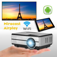 LCD 1500lm Smart Android WiFi Mini Portable LED Projector Online Video Apps HD