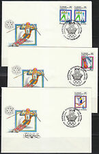 Russia 1992 FDC set of 3 Albertville Olympic Games Skiing Bobsleigh Freestyle