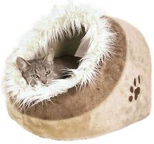 Cat Kitten Warm Cosy Cave Bed Igloo Trixie Minou Cat Bed Beige 36281 Faux Fur