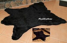 Faux Fur Throw Rug 5' x 6' Black Bear Lodge Cabin Tabin Rustic Carpet Tabin Rugs