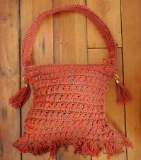 Vintage 70s Glentex Orange Knit Crochet Tassels Hobo Shoulder Bag Purse JAPAN