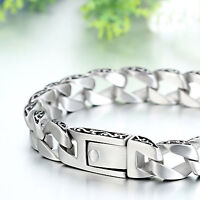MENDINO Men's Stainless Steel Bracelet Cuban Carved Curb Link Chain Silver Tone