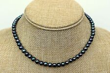Classic Black Natural 6-7mm Freshwater Pearl Necklace 18 inch
