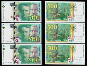 France 3 x 500 francs Marie Curie 1994 UNC GEM !