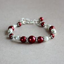 Dark wine red and white pearls silver wedding bridesmaid bridal beaded bracelet