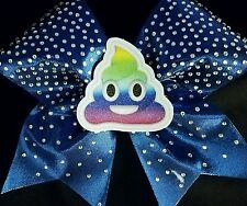 Cheer Bow - 3D Rainbow Poop Emoji Rhinestone - Hair Bows