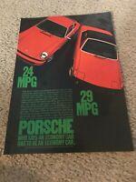 Vintage 1974 PORSCHE 911 914 Car Print Ad 1970s 2.0 2.7 LITER MID-ENGINE ORANGE