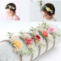 Baby Girl Flower Hair Garland Elastic Nylon Headband Floral Wreath Headwear Gift