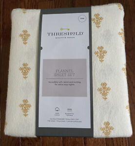 Threshold Printed Fall Flannel Cotton Twin Sheet Gold Flower New