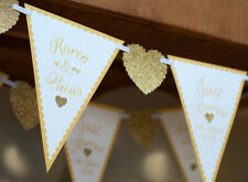 GOLD WEDDING BUNTING PERSONALISED JUST MARRIED MR & MRS RECEPTION HEART BANNER