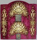 2 icone de voyage russe en argent massif 19e siècle sur broderie de fils d'or