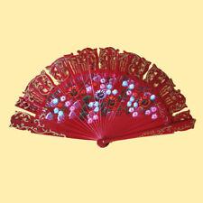 ღ BARAJA BORDEAUX ღ Flamenco Tanz- Fächer Handfächer Blumen Holzfächer Spanien