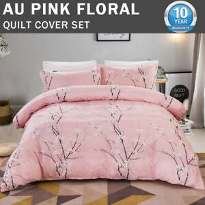 Pink Branch Doona Duvet Quilt Cover Set Double Queen King Size Floral Pillowcase
