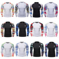 Men's Compression Long Sleeved Tops Cycling Running Workout T-shirts Quick-dry