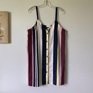 Size 12 - NWT TOPSHOP Womans Retro Striped Button Front Slip Dress