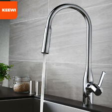 Keewi Single Handle Pull down Deck Mounted Kitchen Faucet, Sink Mixer Brass