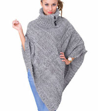 Acrylic Polo Neck Regular Long Jumpers & Cardigans for Women