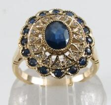 LARGE 9CT GOLD BLUE SAPPHIRE DIAMOND CLUSTER ART DECO INS RING