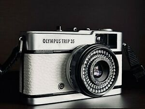 [EXC +] Olympus Trip 35 Film Camera w/ Zuiko 40mm f2.8 Lens   White Leather