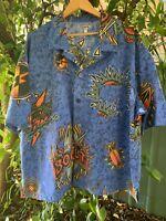 Men's LIGHTNING BOLT retro 80s handmade button down short sleeve shirt size XXL