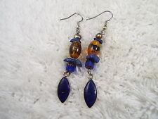 Sterling Silver Blue Glass Drop Pierced Earrings (A68)