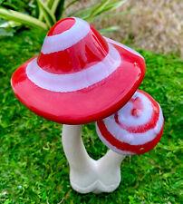 Large Fairy Garden Gnome Village Ceramic Glazed Double Mushroom Garden Stake New