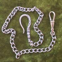 """Repro Victorian Pocket Watch Chain Silver 12"""" Fancy Hook Swivel clip Heavy"""