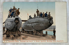 Vintage Postcard U.S. Submarine Boats Shark And Porpoise, Brooklyn Navy Yard