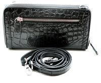 Black Alligator Crocodile Genuine Leather Women handbag Zipper Clutch Wallet
