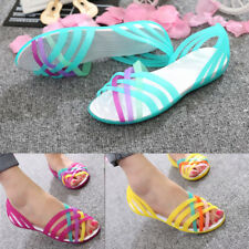 UK SUMMER WOMEN BEACH FLAT SANDALS COLORED OPEN TOE JELLY HOLLOW SHOES UK 2-7