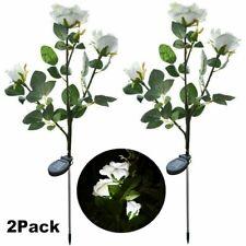 2 Pack Solar Power Rose Flower Garden Stake Landscape Lights Outdoor Yard Lamp