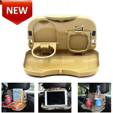 Khak Car Back Seat Multi Foldable Tray Table Desk Stand Drink Cup Holder Plastic