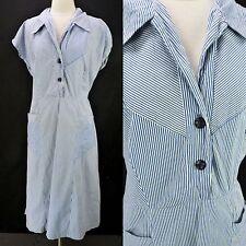 Vintage 50s Fruit of the Loom Blue Striped Full Skirt Shirt Dress Plus Sz 1X 2X