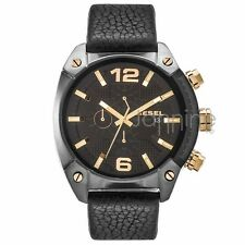 Diesel Authentic Watch DZ4375 Men's OverFlow Black Leather Chronograph