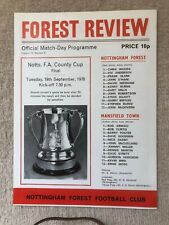 19/09/1978 Nottinghamshire County Cup Final Nottingham Forest v Mansfield Town