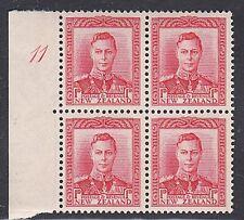 NEW ZEALAND 1938 GVI 1d red - plate 11 block of 4 MNH : CP cat NZ$60........K558