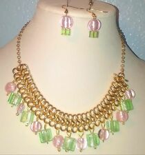Women's Gold Metal ,Green,Pink Glass Bead  Statement Earrings and Necklace  Set