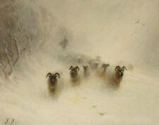 Farquharson Joseph Flock Of Sheep Approaching Through A Blizzard Canvas  #2116