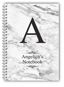 Personalised A5 Softbacked Notebook, Notepad, wire bound, Monogram theme