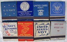 8 Vintage 1940's Full Matchbooks Military USN Norfolk Boston Pearl Harbor